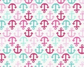 Fun Time Kidz Nautical Fabric Timeless Treasures Pink and Aqua Blue Anchors in Stripes