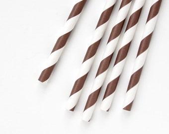 200 Brown Striped Straws, Brown Paper Straws - BULK