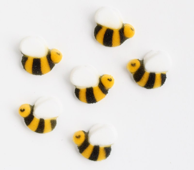 Bumble Bee Edible Sugar Decorations Bumble Bee Sugar Toppers Bee Cupcake Toppers First