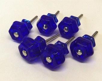 """6 Cobalt Blue Drawer Pulls Knobs Oil Rubbed Base 1-1/4"""""""