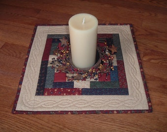 Log Cabin Table Topper with Hand Quilted Border Kansas Troubles Fabrics