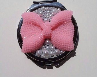 Pink Bow and Pearl Compact Mirror