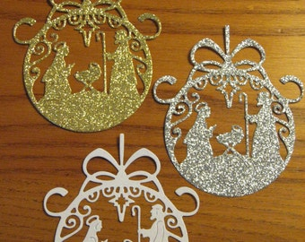 6 Ornament Nativity Die Cuts: Glitter Choose Colors Christmas Stamping supplies card