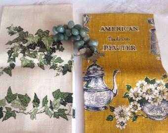 Wonderful Vintage Linen Tea Towels Ivy and American Pewter