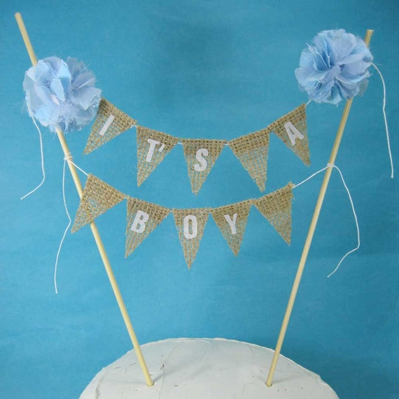 Cake Toppers Baby Shower : Cake topper baby shower burlap banner It s a