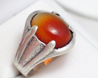 size 11.5 sterling silver Mens Old antique white orange carnelian solitaire gemstone ring / band