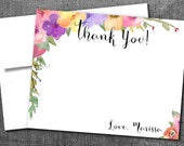 Spring Multi Color Watercolor Florals Thank You Note Cards with Envelope, Bridal or Baby Shower, Bachelorette, Birthday Party, Wedding