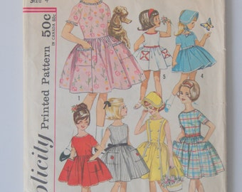 Vintage 1950s Girls Full Circle Skirt Dress Pattern by Simplicity 4924