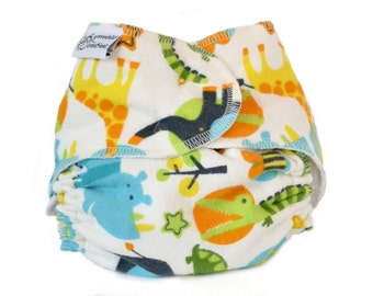 Cloth Diaper Fitted, One Size, Zoo Animals, Flannel - Add Snaps, Hook and Loop, or Pins