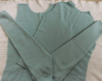 Felted Cashmere Sweater Remnants Pale Green Pastel Fabric Material Recycled Crafts Sewing Supplies Upcycle