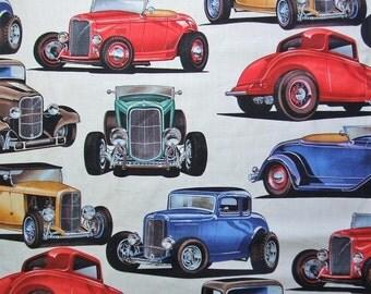 Deuces Natural Retro Antique Car Alexander Henry Fabric Yard