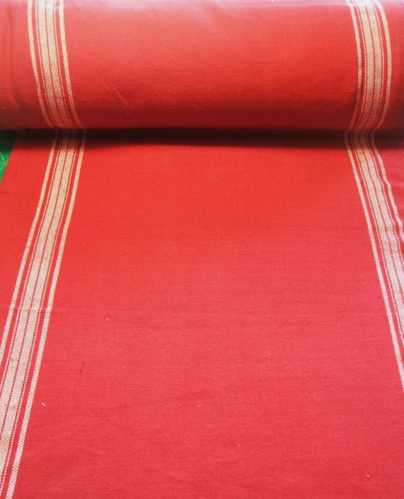 Moda rural jardin rouge red toweling table runner fabric for Table jardin rouge