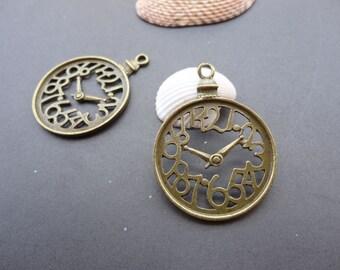 20pcs 37mmx28mm Clock Antique Bronze Retro Pendant Charm For Jewelry Pendant
