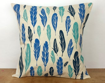 Organic Cotton Hemp Hand Screen Printed Feather Pattern Pillow Cover, 18x18