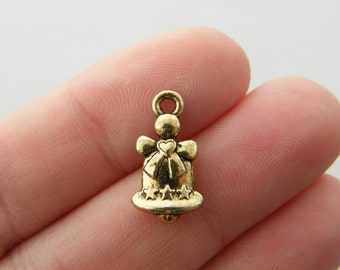 10 Bell charms antique gold tone GC15