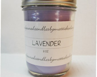 Lavender 8oz container candle, Mason jar, scented