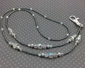 Beaded Lanyard, ID Holder Necklace in Crystal Clear AB and Gunmetal, Teacher, Nurse, Professional
