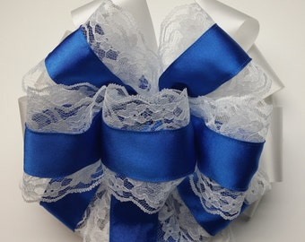 Wedding Pew Bows Lace Edged Royal Blue Satin Wired Ribbon over White Acetate Satin Ribbon Hand Tied
