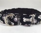 Martingale Collar,Dog Collar, Greyhound Collar,Iggy's Designs, sighthound collar, wide collar, whippet, Collar, Dog bone