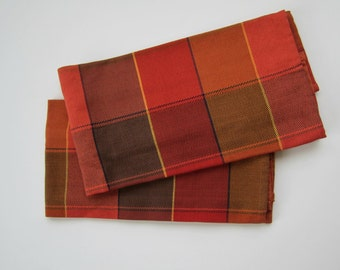 Handwoven Plaid Kitchen Towel in Rust and Coral