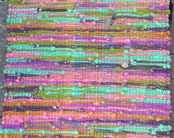 Rag Rug, Sock Loopers, Hand Woven, Hand Dyed, Moss Colors