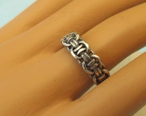 """Unisex Vintage Solid Sterling Silver """"Woven"""" Ring, Solid Sterling, Excellent Condition!"""
