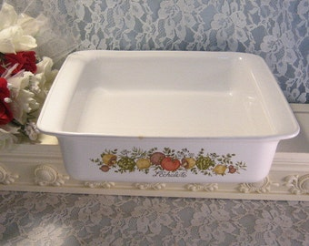 Vintage Corning Ware Spice of Life Square Baker Brownie, Glass Cookware Bakeware, Corelle Dinnerware, Pyrex Casserole, Mid Century Kitchen