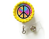 Groovy Peace Sign  - Name Badge Holder - Cute Badge Reels - ID Badge Holder - ID Badge Reel -  Nurse ID Badge Clip