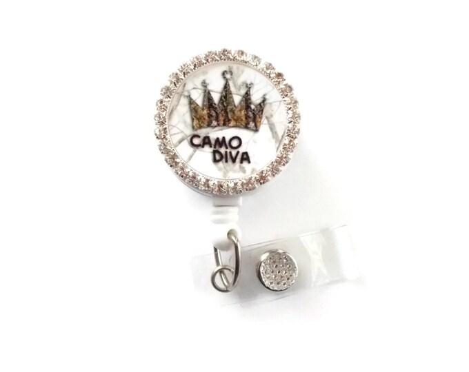 Camo Diva - Name Badge Holder - Camo Badge Reel  - Nurse ID Badge Clip - Bling Badge Holder - School Badge - Designer Badge - Sparkle Badge
