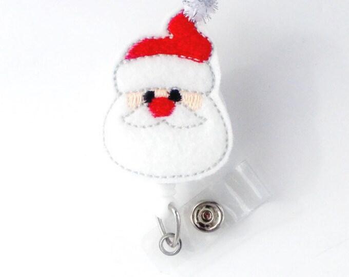 Sparkle Santa Claus - Retractable ID Felt Badge Holder - Christmas Badge Reel - Nurses Badge Holder - Medical Badge - Teacher Badge