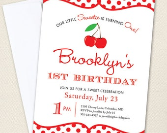 Cherry Party Invitations - Professionally printed *or* DIY printable
