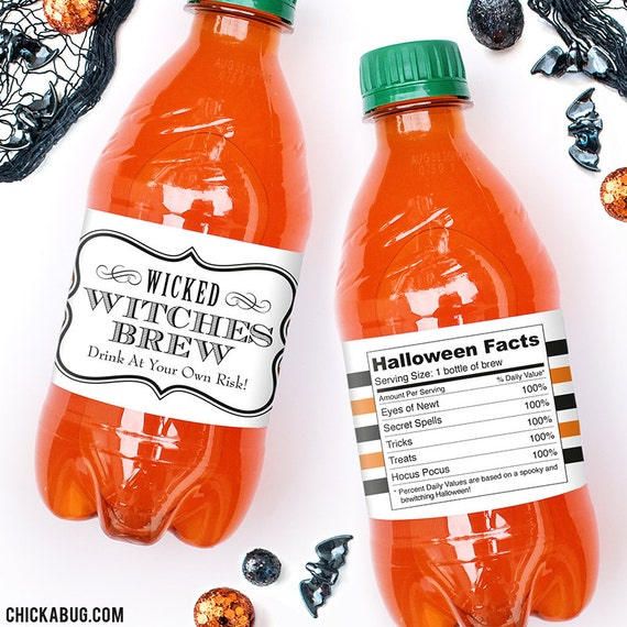 """Halloween Water Labels - """"Witches Brew"""" - 100% waterproof personalized water bottle labels"""