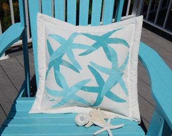 Outdoor pillow DANCING SEA STARS starfish 20 inch coastal seashore beach nautical marine cottage cabin Crabby Chris Original