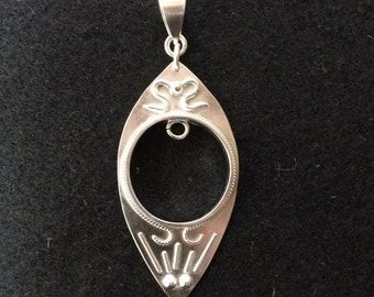 Sterling Silver Hand Wrought Pendant Bezel for Charm