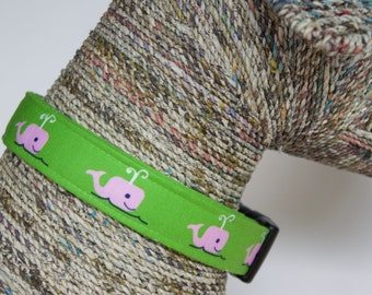 Preppy Dog Collar, Whale Collar, Pink and Green Collar, Preppy Nautical Whales, Pet Collar, Marthas Vineyard
