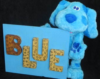 Blue Plaque Wall Art for Nursery or Day Care All Recycled Materials