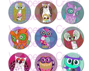 1 inch Pattern Owls Circles Collage Sheet