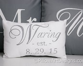 Pillow Set Engagement Wedding Anniversary Mr and Mrs Family Name Grey and White Made in Canada