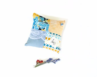 Organic lavender sachet pillow, mix of lavender and rose patchwork sachet mini pillow, blue yellow, aromatherapy, country cottage decor