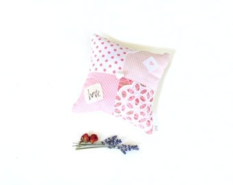 Organic lavender sachet pillow, aromatherapy gift for mom, rose and lavender mix, pink and white, scented mini pillow, drawer freshener