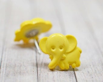 Cute Yellow Elephant Earrings, Happy Elephants Vegan Jewelry, Boho Chic Studs