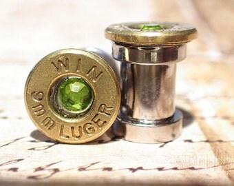 Bullet casing ear plugs 9mm Brass Bullet Plugs Earrings Bullet gauges w Surgical Stainless Steel Tunnel bullet gauges, bullet guages