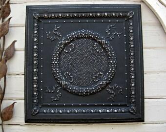 Tin Ceiling Tile.  ANTIQUE Architectural salvage.  FRAMED 2'x2' Tin Ceiling Tile.  Black Metal Wall decor. Vintage metal tile.