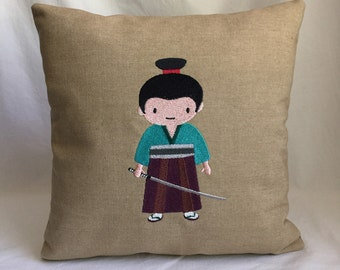 "Small samurai 12""x12"" pillow, embroidered on light brown canvas fabric"