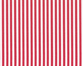 Ella Blue Basic cotton quilt fabric red and white candy stripes