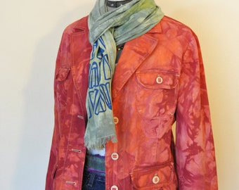 Red XL Cotton Jacket - Orange Cherry Red Hand Dyed Upcycled Sonoma Cotton Safari Blazer Jacket - Adult Womens Extra Large (44 chest)