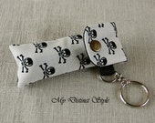 Men's Fabric Lip Balm Holder with Keyring, Lip Balm Cozy, Chapstick Holder