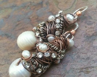 Wedding Tangled earrings with Copper, Rhinestones and Pearls, ThePurpleLilyDesigns