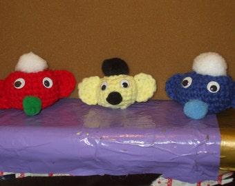 3 secret keepers - crocheted balls - critters