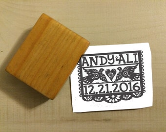 Custom Papel Picado Fiesta Wedding Design Invitation Save the Date Rubber Stamp